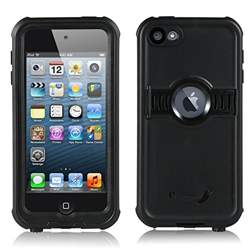 FAVOLCANO New Version Knight Series IP68 Underwater Waterproof Shockproof Snowproof Dirtproof Durable Full Sealed Protection Case with Kickstand for iPod Touch 5th 6th Generation (Black)