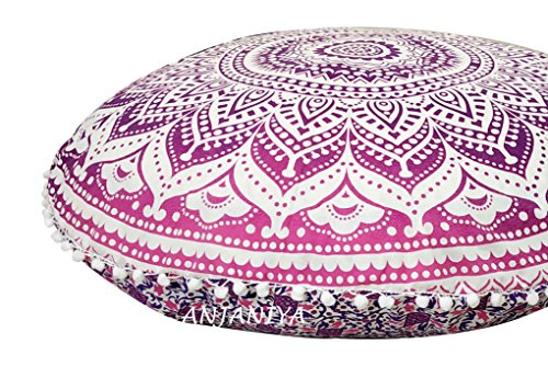 "ANJANIYA 32"" Mandala Bohemian Yoga Meditation Floor Pillow Comfortable Home Car Bed Sofa Cushion Cover Couch Seating Large Zipped Throw Hippie Decorative Ottoman Boho Indian (Pink Ombre) from ANJANIYA"