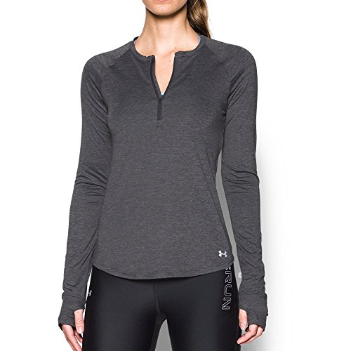 Under Armour Women's Fly-By 1/2 Zip, Carbon Heather /Reflective, Large ()