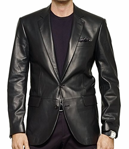 - Brand Me Men's Leather Blazer Genuine Soft Lambskin Leather Coat Jacket BB01 (Medium)