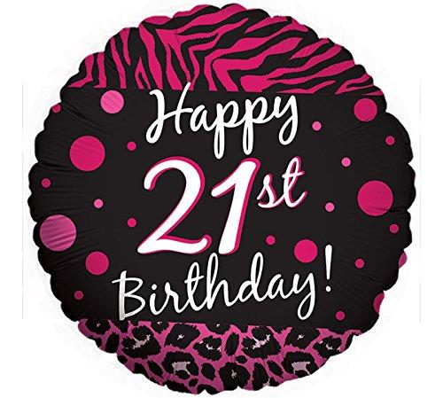 (2 BALLOONS new 21ST BIRTHDAY party BLACK hot PINK ZEBRA print CHEETAH leopard POLKA)