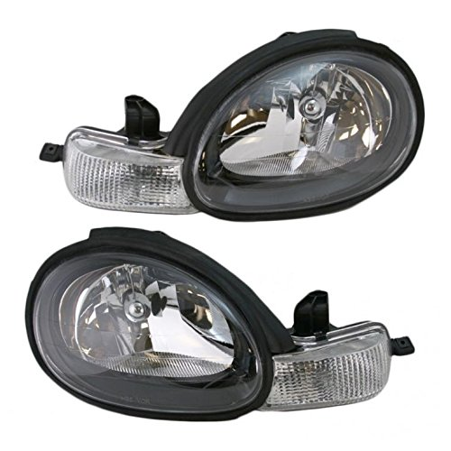 Headlights Headlamps w/Black Bezels Left & Right Pair Set for 00-02 Dodge Neon