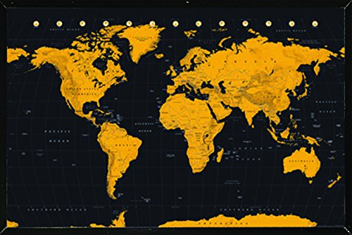 wold map gold poster a