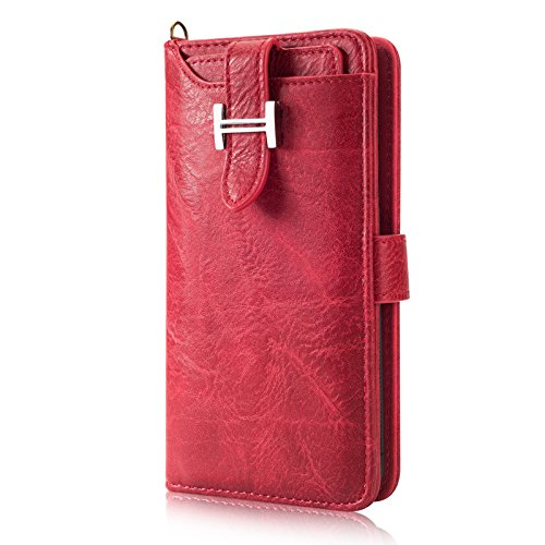 Boens Wallet Case for Galaxy S8, Pu Leather Stand Wallet Case Credit Card Holder Flip Cover Retro Belt Buckle Case For Samsung Galaxy S8 -Red by Boens