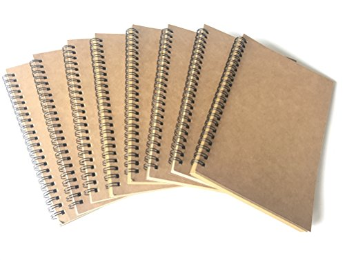 VEEPPO A5 Wirebound Notebooks Bulk Journals Spiral Steno Pads Blank/Lined Kraft Brown Cardboard Cover Thick Cream Writing Pad Sketchbook Scrapbook Album (Brown Blank-Pack of 8)