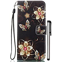 Galaxy S5 Case, Wallet Case with [CARD SLOT][ID HOLDER][KICKSTAND][WRIST STRAP] - Premium Wristlet Leather Flip Cover for Samsung Galaxy S 5/S5 Neo Golden Flower Butterfly