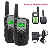 Kids Walkie Talkies Radio,3 KM Long Range Walkie Talkie Loud Speaker with 22 Channel 2 way Radios,Handsfree Walkie Talkies Set of 2 With Flashlight&Rechargeable Batteries for Children Outdoor (Black)