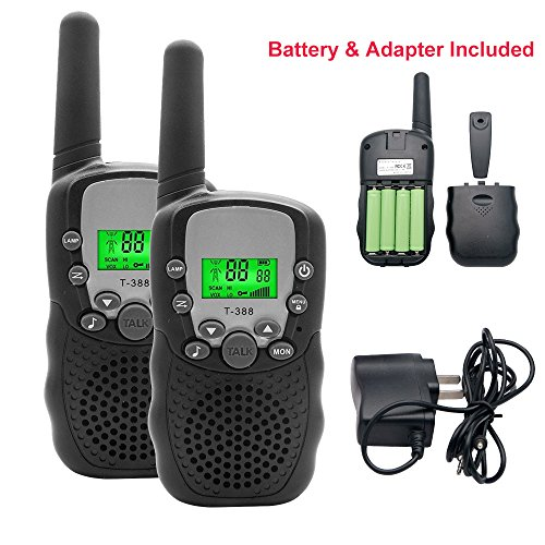 Kids Walkie Talkies Radio,3 KM Long Range Walkie Talkie Loud Speaker with 22 Channel 2 Way Radios,Handsfree Walkie Talkies Set of 2 with Flashlight&Rechargeable Batteries for Children Outdoor (Black) by TOP-MAX