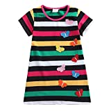 Juxinsu Toddler Girls Cotton Summer Short Sleeve Butterfly Dresses for Baby Girl Kids Clothes 1-6 Years (6t, AS6462-Color)
