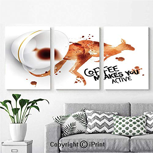 Modern Salon Theme Mural Morning Drink Caffeine Active Start Stains Messy Look and Kangaroo Decorative Painting Canvas Wall Art for Home Decor 24x36inches 3pcs/Set, Burnt Sienna Black White