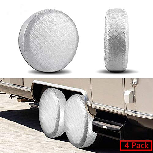 YBB Set of 4 RV Tire Wheel Covers, Trailer Spare Tire Covers, Waterproof UV Sun Tire Protector Covers for Car Camper, Fits 19