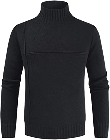 Qiangjinjiu Mens Turtleneck Long Sleeves Pullover Knitted Sweater