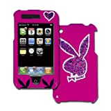 Licensed Hot Pink Playboy Snap On for iPhone with Big Glitter Bunny on the Back Outlined in Rhinestones and Two Small Black Bunnies on the Front