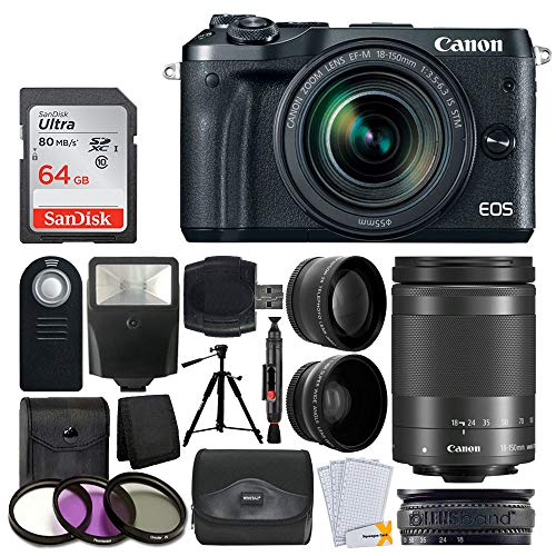 Canon EOS M6 Mirrorless Digital Camera + EF-M 18-150mm f/3.5-6.3 is STM Lens (Graphite) + Wide Angle & Telephoto Lens + 64GB Memory Card + Slave Flash + Wireless Remote + Quality Tripod + Accessories