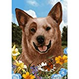 Best of Breed Summer Flowers Garden Flag – Red Australian Cattle Dog For Sale