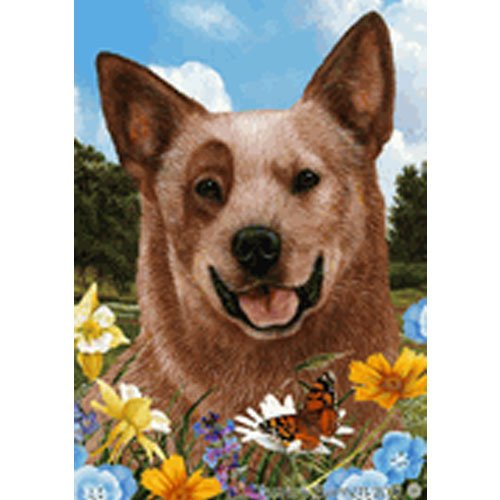 Best of Breed Summer Flowers Garden Flag - Red Australian Cattle Dog