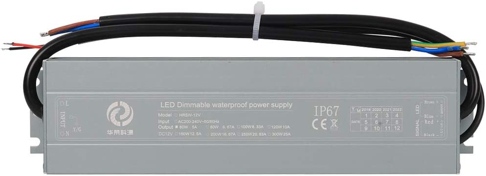 Outdoor Waterproof IP67 12V 8.33A 100W Dimmable Low Voltage LED Driver Transformer AC DC Switching Power Supply PSU Module Adapter Supports 2-in-1 TRIAC and 0-10V Dimming Lighting Control YAYZA