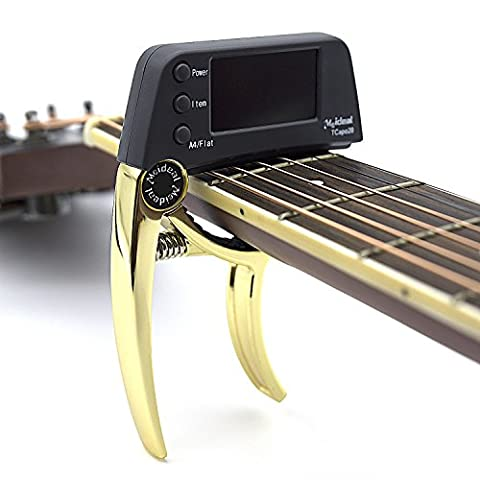 Professional Guitar Tuner,Partysky Chromatic Clip-on Tuner for Guitar With Rotational Double Color LCD Display Single-handed Pretty Accurate Tuner A4 Pitch Calibration 430Hz to (Professional Guitar Tuner)