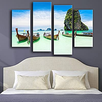 Link Line New Product Print Oil Painting Wall Painting 4Pc/Set Sea The Boat Rocks Wall Art Picture For Living Room Painting