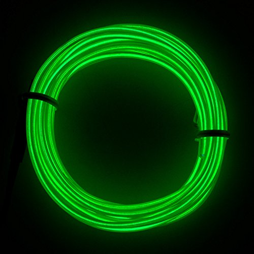 Lysignal 9ft Neon Glowing Strobing Electroluminescent Light Super Bright Battery Operated EL Wire Cable for Cosplay Dress Festival Halloween Christmas Party Carnival Decoration (Emerald Green)
