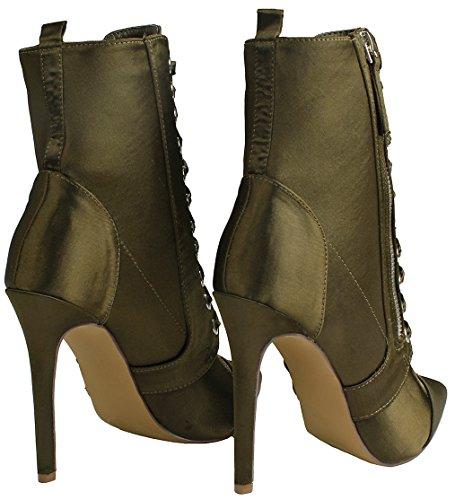 Up Side Ankle Heel Lace Zip Social lexa Shoes Lycra Pointy Stiletto JJF Women High Booties Toe Olive 8wTRqOX