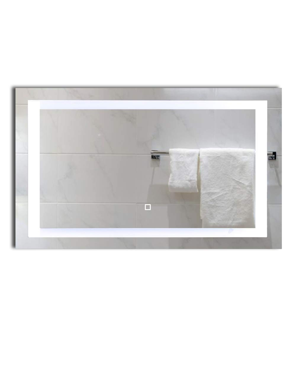 40×24 inch Dimmable LED Lighted Bathroom Wall Mounted Vanity Mirror Dimmable Memory Touch Switch 6500K High Lumen LED True Color CRI 90 Vertical Horizontal Installation