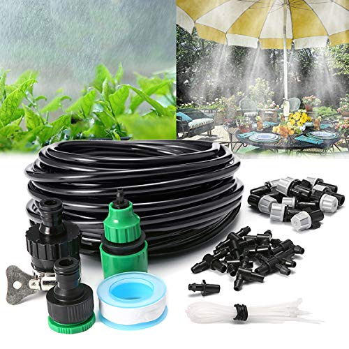 AGSIVO Home Garden Patio Misting Micro Flow Drip Irrigation Misting Cooling System Plastic Mist Nozzle Sprinkler Micro Blubber for Patio Garden Greenhouse Trampoline for waterpark (32.8ft ()