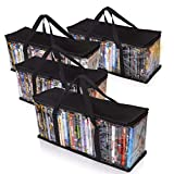 Besti Premium Quality Home DVD Storage Bags (4-Pack) Holds 160 Total Movies or Video Games, Blu-ray, | Convenient Travel Case for Media | Stackable, Easy to Carry