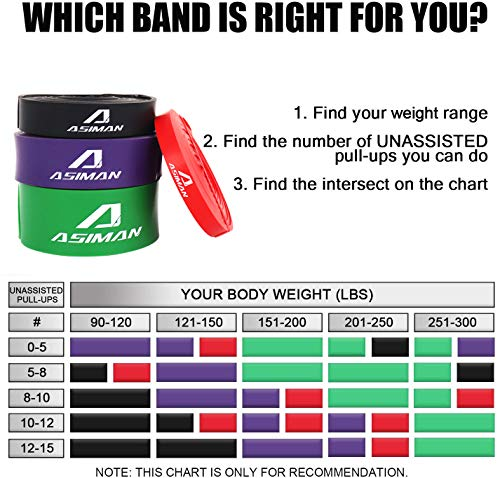 ASIMAN Resistance Band Workout Bands Pull Up Assist Bands Exercises for Fitness, Stretching, Pilates Bands, Resistance Training for Men and Women Fitness