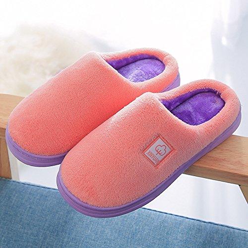 Coppie fankou home cotone pantofole indoor anti-slittamento dello spessore di soggiorno incantevole pantofole caldo inverno ,41-42, arancione tra uomini e donne.