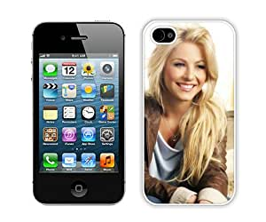 Beautiful And Unique Designed Case For iPhone 4S With Julianne Hough Blonde Smile Celebrity Face White Phone Case