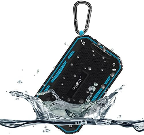 Waterproof IPX7 Bluetooth Speaker, Portable Mini FM Radio Speaker Music Player with 6W Boom Bass, Compact Portable Speaker in Rugged Design, Micro SD Card Slot, Bike Mount Screw Blue