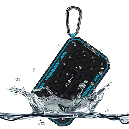 Waterproof IPX7 Bluetooth Speaker, Portable Mini FM Radio Speaker Music Player with 6W Boom Bass, Compact Portable Speaker in Rugged Design, Micro SD Card Slot, Bike Mount Screw (Blue)