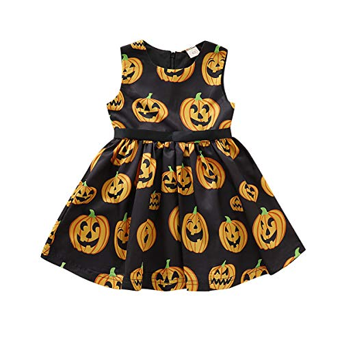 Toddler Kids Baby Girls Dress Cartoon Pumpkin Halloween Black Party Dress Clothes (3-4 Years, Pumpkin Halloween Dress) -