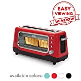 Dash DVTS501RD Clear View: Extra Wide Slot Toaster with Stainless Steel Accents + See Through Window, Defrost, Reheat + Auto Shut Off Feature for Bagels, Specialty Breads & other Baked Goods, Red