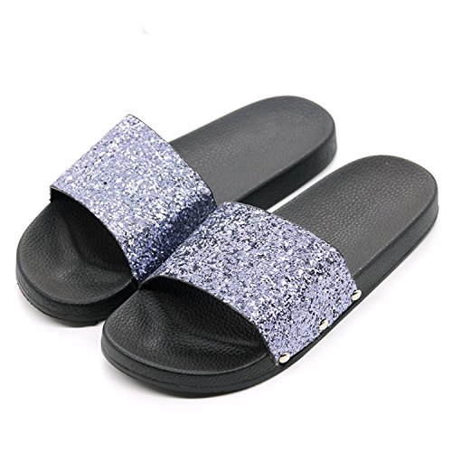 Flip Flop Bling Slippers Sparkling Sequins PU Flat Non Slip Slides Home Slipper Casual Beach Sandal,Black,8]()