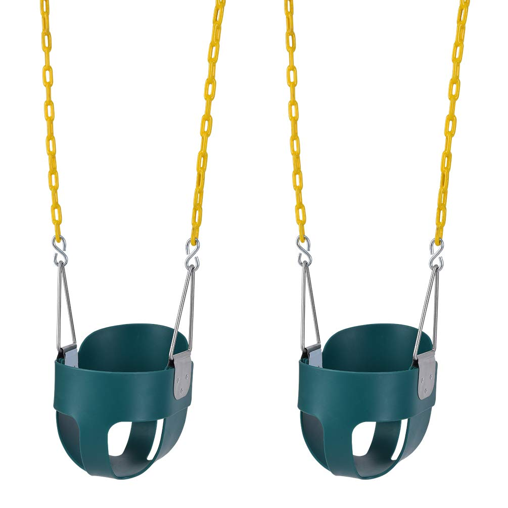 Lovely Snail 2 Pack Toddler Swing Seat-High Back Full Bucket Swing Seat with 66'' Plastic Coated Chains