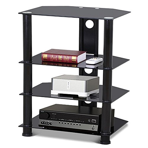 go2buy 4 Tier Black Glass Media Component Stand Audio Rack with Cable Management, Storage for Xbox, Playstation, Cable Boxes by go2buy