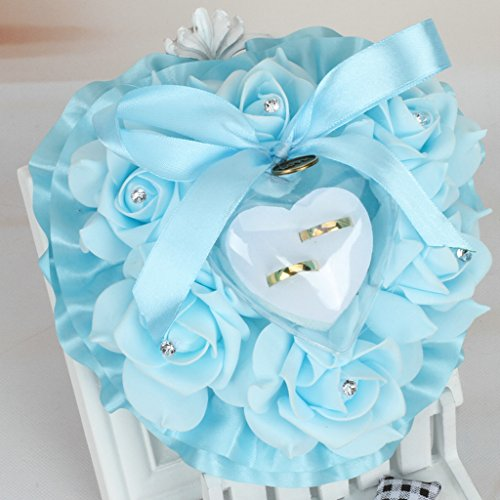 Wrisky Romantic Rose Wedding Favors Heart Shape Rhinestone Gift Ring Box Pillow Cushion (Sky Blue)