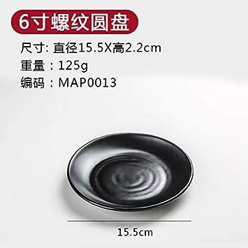 Plato plato melamina imitación porcelana cubertería hecha de plástico negro plato llano plato plato occidental arroz,6 pulgadas disco roscada: Amazon.es: ...