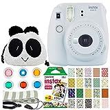 FUJIFILM INSTAX Mini 9 Instant Film Camera (Smokey White) + Fujifilm Instax Mini Instant Film (20 Exposures) + Panda Bag + Colored Lens Filters + Striped Camera Strap + 20 Sticker Frames Animal Pack