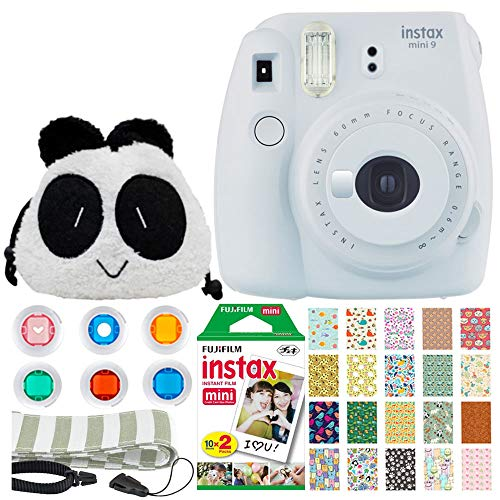 FUJIFILM INSTAX Mini 9 Instant Film Camera (Smokey White) + Fujifilm Instax Mini Instant Film (20 Exposures) + Panda Bag + Colored Lens Filters + Striped Camera Strap + 20 Sticker Frames Animal Pack