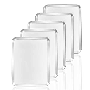 Baking Sheets 5 Pieces, Bastwe Cookie Sheets Set of 5 Stainless Steel Baking Pans Toaster Oven Tray Pans, Rectangle Size 12 × 9 × 1 inch, Rustproof & Healthy & Easy Clean & Dishwasher Safe