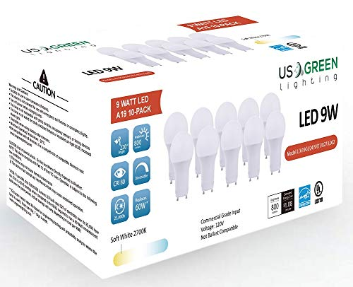 (10 Pack) LED GU24 Twist-in Base A19 Light Bulb, 9W (60W Equivalent), Energy Star, Dimmable, Bi-Pin, 2700K (Warm White), 800 Lumens, UL Listed. ()