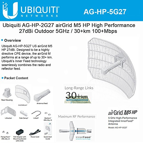 Antenna High-Performance airGrid M5 27dBi 5GHz AirMax Integrated InnerFeed 100+ Mbps 30+ km by Ubiqui Network