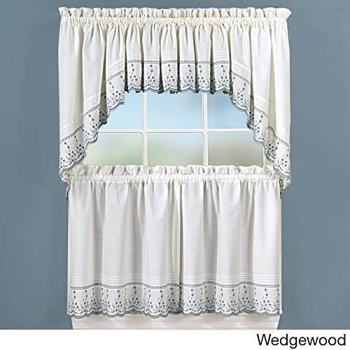CHF Industries Abby Embroidered 5-Piece Curtain Tier and Swag Set Blue