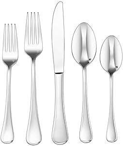Cuisinart CFE-20PMIL 20 Piece Milan Elite Flatware Set, Silver
