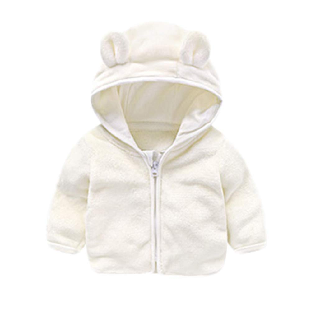 Dream/_mimi Childrens Long Sleeve Cartoon Solid Color Ear Hooded Plush top