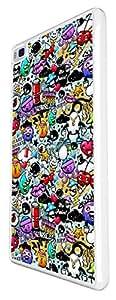 800 - StickerBomb Cartoon Multi Art Design For Huawei Ascend P6 Fashion Trend CASE Back COVER Plastic&Thin Metal -White
