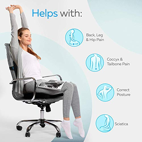 Memory Foam Seat Cushion/Back Cushion Combo, Gel Infused & Ventilated, Orthopedic Design. Perfect for Office Chair, Relieves Back, Coccyx, Sciatica, Tailbone, Lumbar Pain, by Everlasting Comfort by Everlasting Comfort (Image #4)